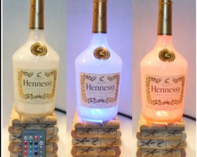 Hennessy Cognac Liquor bottle lamp 16 Color Changing light RGB LED Remote Controlled - Man Cave Bar Light - Glass Bottle - Henny