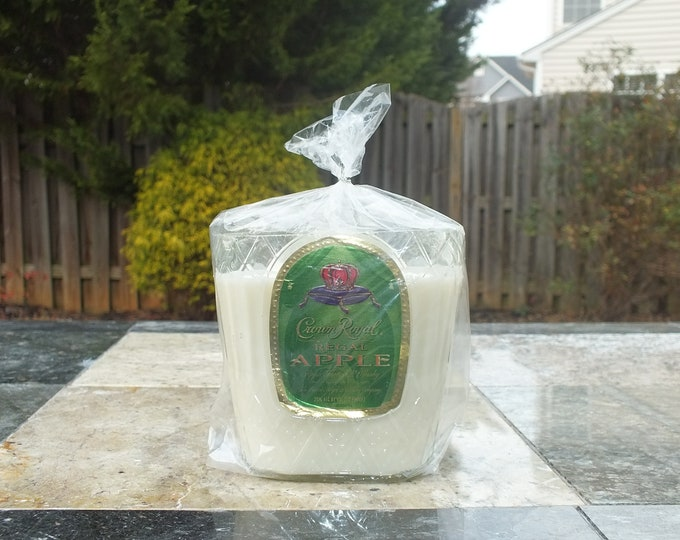 Crown Royal Apple Canadian Whiskey Empty Cut Liquor Bottle Candle - Scented Soy Wax -  Gift - Man Cave FREE SHIPPING!