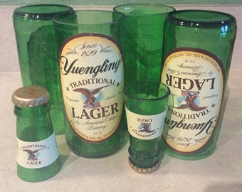 Yuengling Beer Bottles Glasses and Shot Glasses - Cerveza,- Guy Beer Mug Unique Gift tumblers - Traditional Lager - PA - Pennsylvania