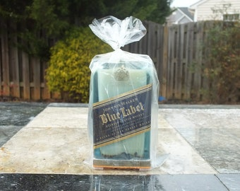Johnnie Walker Blue Label Scotch Whisky Empty Cut Liquor Bottle Candle Scented Soy Wax -  Gift - Rarest Whiskies FREE SHIPPING!