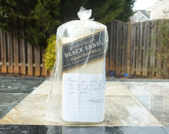 Johnnie Walker Black Label 12 Year Old Scotch Whisky Empty Cut Liquor Bottle Candle - Scented Soy Wax -  Gift - FREE SHIPPING!