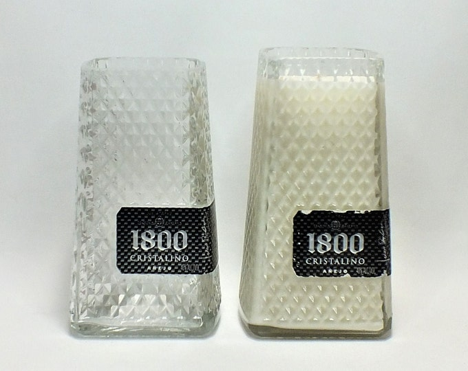 1800 Cristalino Bottle Candle or Vase - Tequila Reserva - Scented Soy Wax - Empty Cut Liquor Bottle - Whiskey Gift