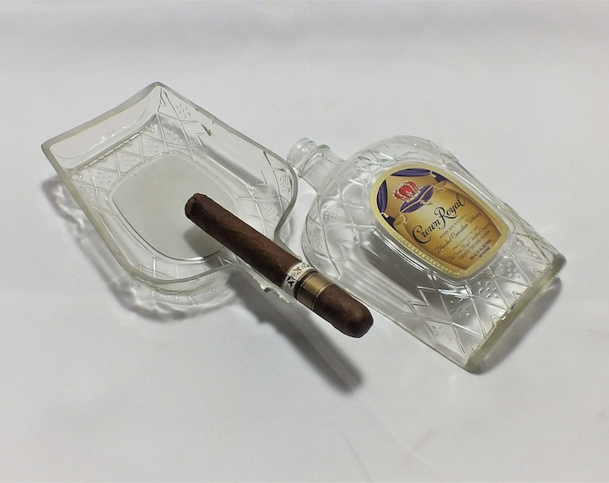 Crown Royal Blended Canadian Whiskey Liquor Bottle Cigar Ashtray - Nuts Bowl - Jewelry box - Catch it all - Ash tray