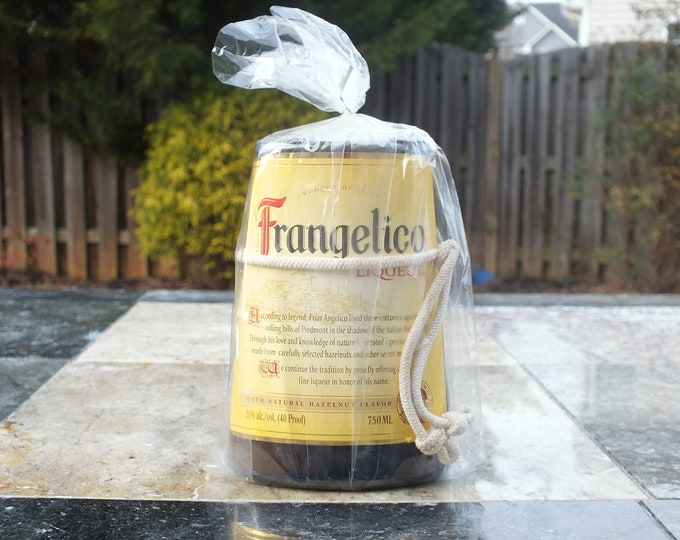 Frangelico Empty Cut Liquor Bottle Candle - Scented Soy Wax -  Gift - Man Cave - Italian Liqueur - Italy FREE SHIPPING!