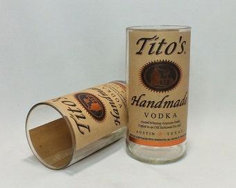 Tito's Glass (1) - Handmade Vodka - Rocks Glasses - Drinking Glasses - Liquor Bottle Cut - Upcycled Glasses