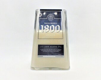 1800 Tequila Silver Empty Cut Liquor Bottle Candle - Scented Soy Wax -  Gift - Man Cave - Mexico Blanco - Agave FREE SHIPPING!