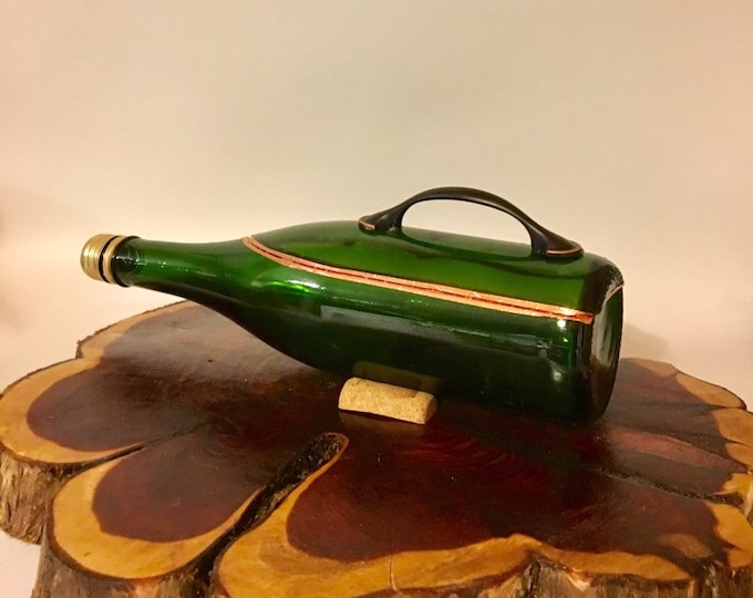Green Champagne bottle box, Snack Bowl, Party or Candy Dish - Nuts Bowl - Booze - Licor - Jewelry Box - Cigars - Ships Free!