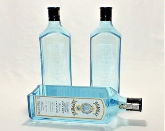 Bombay Sapphire liquor bottle cut lengthwise / crafts / serving dish / Wine Planter / Indoor Plants / Succulent Glass Terrarium