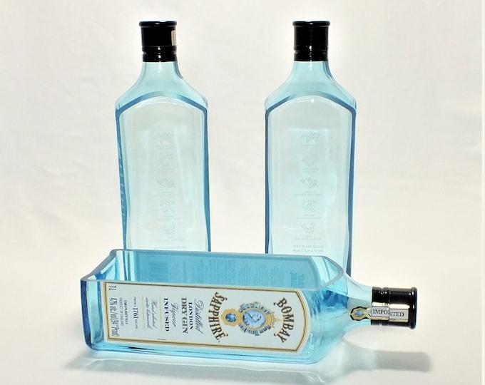 Bombay Sapphire liquor bottle cut lengthwise / crafts / serving dish / Wine Planter / Indoor Plants / Succulent Glass Terrarium
