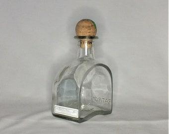 Patron Tequila Silver Liquor Bottle cut lengthwise  / serving dish / Planter / Indoor Plants / Succulent Glass Terrarium / spoon rest