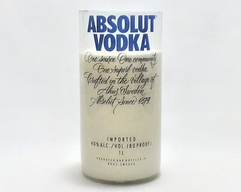 Absolut Vodka Empty Cut Liquor Bottle Candle - Scented Soy Wax -  Gift - Man Cave - Sweden Vodka FREE SHIPPING!