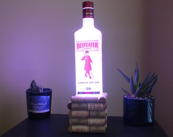 Beefeater London Gin empty Liquor bottle lamp 16 Color Changing light RGB LED Remote Controlled - Bar Light - Glass Bottle -