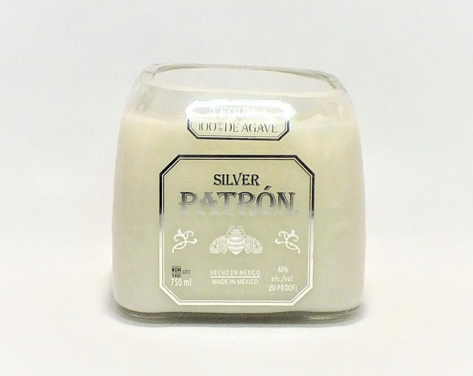 Patron Bottle Candle - Tequila Silver - Scented Soy Wax - Empty Cut Liquor - Gift - Man Cave - Mexico Blanco - Agave FREE SHIPPING!