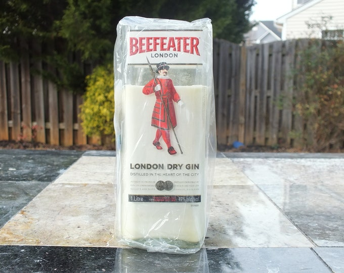 Beefeater Bottle Candle - Scented Soy Wax - London Gin - Empty Cut Liquor Bottle - Gift - Man Cave - FREE SHIPPING!