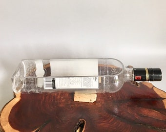 Ketel One Vodka Liquor Bottle cut lengthwise / crafts / serving dish / Planter / Indoor Plants / Succulent Glass Terrarium