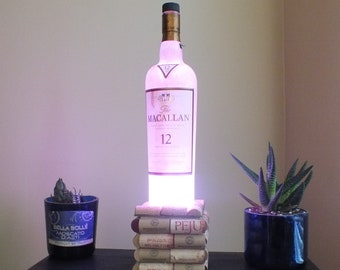 The Macallan 12 Single Malt Scotch Whisky empty Liquor bottle lamp 16 Color Changing light RGB LED Remote Controlled -Glass Bottle - Whiskey