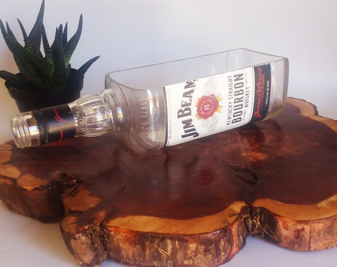 Jim Beam Bournon Whisky Liquor Bottle cut lengthwise / crafts / serving dish / Planter / Indoor Plants / Succulent Glass Terrarium