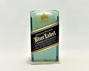 Johnnie Walker Blue Label Candle - Scented Soy Wax Candle - Scotch Whisky - Empty Cut Liquor Bottle -  Gift - Rarest Whiskies FREE SHIPPING!