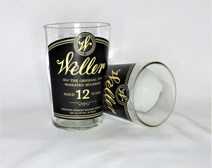 Weller 12 Year Old The Original Wheated Whiskey Bourbon Rocks Glass (1) - Made from Bottle - Whisky bottom glass