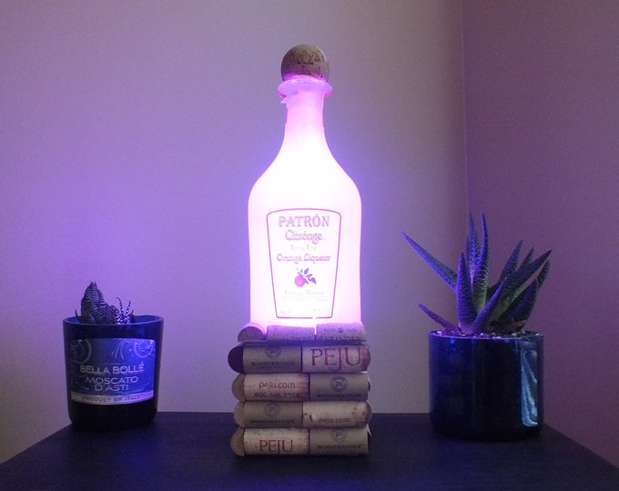 Patron Citronge empty Liquor bottle lamp 16 Color Changing light RGB LED Remote Controlled - Bar Light - Glass Bottle -