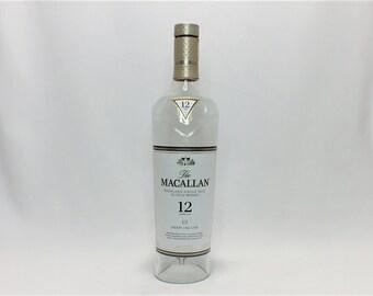 The MacAllan 12 Lamp Shade - Hanging Light - Highland Single Malt Scotch Whisky - Lamp - Cut Bottle - Cut Liquor Bottles - Chandelier