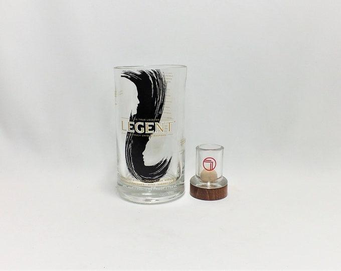 Legent Bourbon Drinking glass and Shot glass set - Single Barrel - Kentucky Straight Bourbon Whiskey - Made from Bottle - Whisky bottom