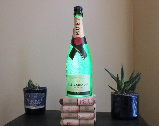 Moet & Chandon empty Champagne bottle lamp 16 Color Changing light RGB LED Remote Controlled - Bar Light - Glass Bottle -