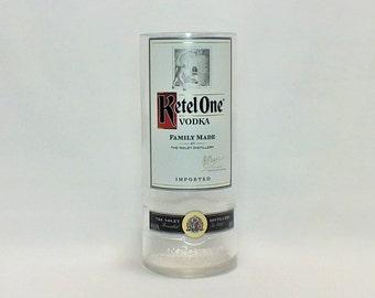Ketel One Tall Liquor Bottle Cut Glass (1) - Rocks Glasses - Drinking Glasses - Upcycled Glasses