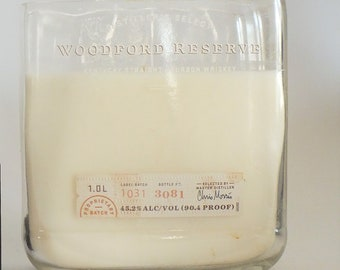 Woodford Reserve Bottle Candle - Kentucky Straight Bourbon Whiskey - Scented Soy Wax - Empty Cut Liquor Bottle - Whiskey Gift FREE SHIPPING!