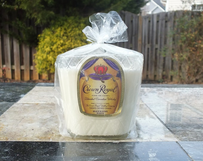 Crown Royal Canadian Whiskey Empty Cut Liquor Bottle Candle - Scented Soy Wax -  Gift - Man Cave FREE SHIPPING!