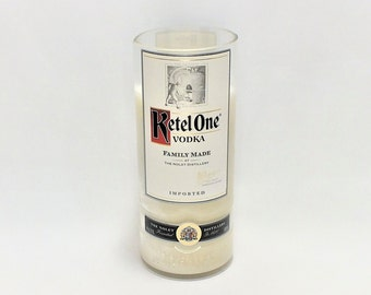 Ketel One Bottle Candle - Vodka - Scented Soy Wax - Empty Cut Liquor Bottle - Gift - Man Cave FREE SHIPPING!