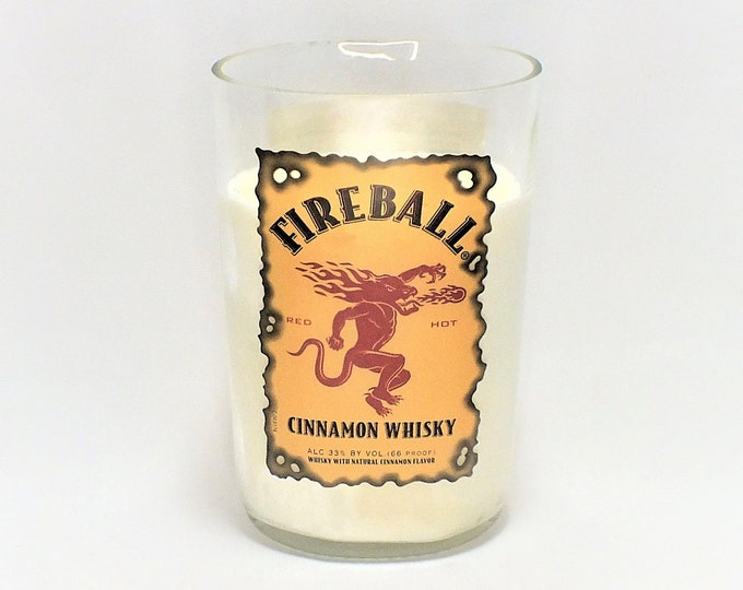 Fireball Cinnamon Whisky Empty Cut Liquor Bottle Candle - Scented Soy Wax -  Gift - Man Cave FREE SHIPPING!