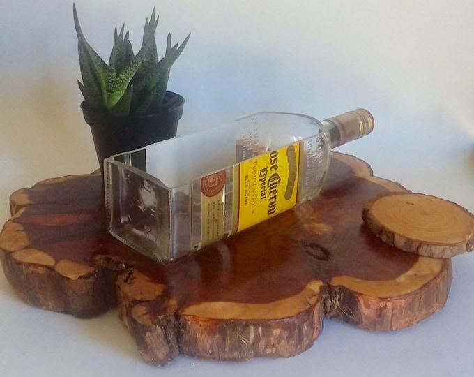Jose Cuervo Especial Tequila Liquor Bottle cut lengthwise / crafts / serving dish / Planter / Indoor Plants / Succulent Glass Terrarium