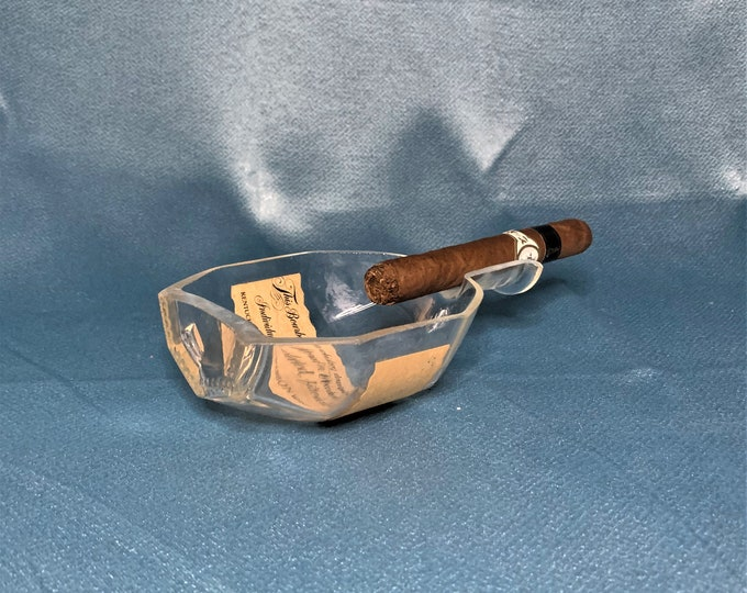 Cigar Ashtray - Nuts Bowl - Jewelry box - From Empty Blanton's Bourbon Whiskey Liquor Bottle - Flipped Blantons Label on Bottle - Ships Free
