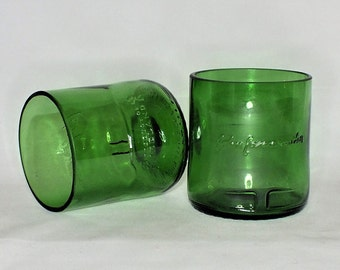 Jameson Irish Whisky Liquor Bottle Cut Glass - Rocks Glasses - Drinking Glasses - Upcycled Glasses 1 liter bottle