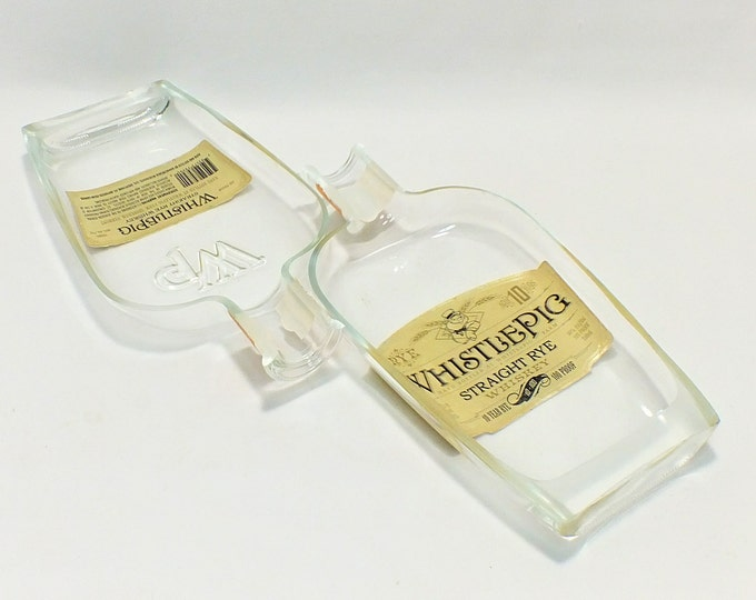 Two (2) Whistlepig Ashtrays - Nuts Bowl - Jewelry box - Straight Rye Whiskey Liquor Bottle - Flipped Label on Bottle - Ships Free