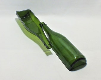 Cut In Half Bottle - Green - Yellow - Blue - Wine Bottle - Art Project - Upcycled Glass - Collages - Mosaics - Stained Glass