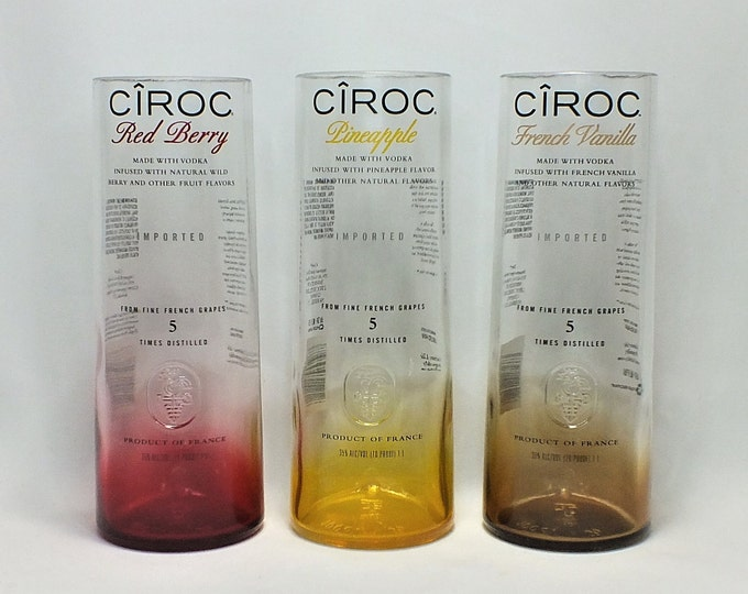 Ciroc Rocks Glass (1) - Made from 750ml Bottle - Vodka bottom glass - French Vanilla - Red Berry - Pineapple