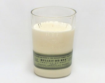 Bulleit Rye Bottle Candle - Kentucky Straight Bourbon Whiskey - Scented Soy Wax - Empty Cut Liquor Bottle - Gift - Frontier FREE SHIPPING!