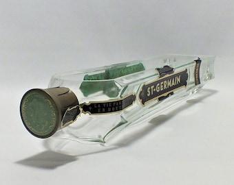 St Germain Liquor Bottle cut lengthwise / serving dish / Planter / Indoor Plants / Succulent Glass Terrarium - Saint - Elderflower liqueur