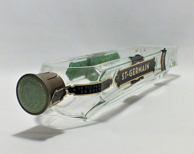 St Germain Liquor Bottle cut lengthwise / serving dish / Planter / Indoor Plants / Succulent Glass Terrarium - Saint - Elderflower liqueur