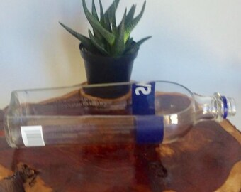 Svedka Vodka from Sweeden Liquor Bottle cut lengthwise / crafts / serving dish / Planter / Indoor Plants / Succulent Glass Terrarium