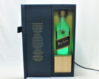 Johnnie Walker Blue Label Bottle Lamp - 16 Color Changing RGB - Scotch Whisky - Empty Cut Liquor -  Gift - Rarest Whiskies FREE SHIPPING!