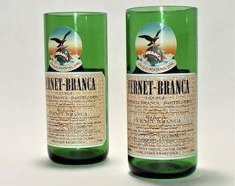 Fernet Branca Liquor Bottle Cut Glass - Rocks Glasses - Drinking Glasses - Upcycled Glasses - fernet and Con Coke - shot