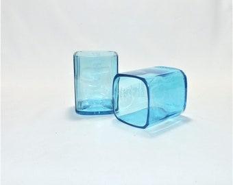Bombay Sapphire London Gin Liquor Bottle Cut Glass - Rocks Glasses - Drinking Glasses - Upcycled Glasses