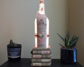 Basil Hayden Bourbon Whiskey empty Liquor bottle lamp 16 Color Changing light RGB LED Remote Controlled - Bar Light - Glass Bottle -
