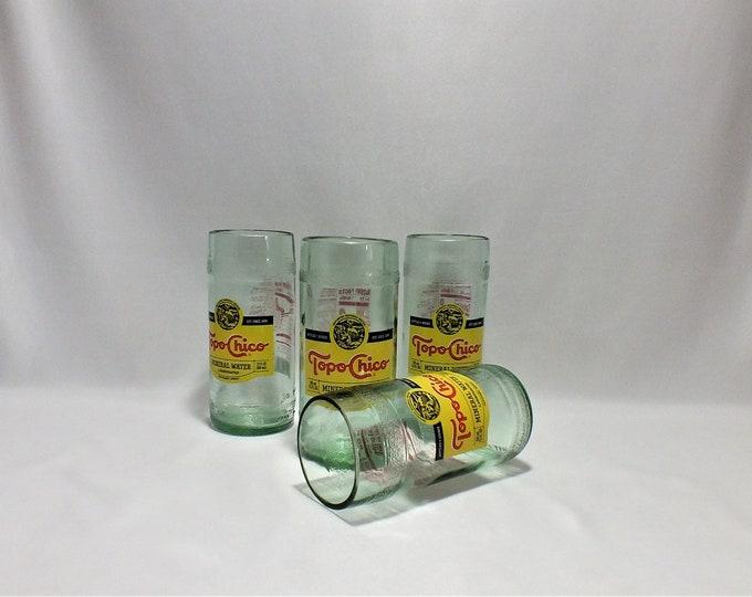 Topo Chico Bottle Glass - Rocks Glasses - Drinking Glasses - Empty Bottle Cut - Upcycled Glasses - Cut Bottle