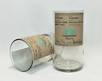 Casamigos Tequila Rocks Glass (1) - Made from Bottle - Tequila bottom glass - Reposado - 100% Agave