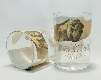 Buffalo Trace Whiskey Bourbon Rocks Glass (1) - Made from Bottle - Whisky bottom glass - Tall glass