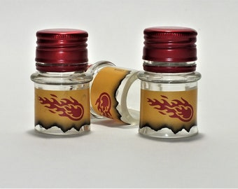 Fireball Cinnamon Whiskey - Empty Cut Liquor Bottle Shot Glasses -  Top Glass - Mother's & Father's Day Whiskey Gift - WTF